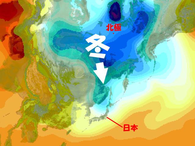 今週なかばの上空の気温。青い所が低温=寒気。北極の周辺で冬将軍がチカラを蓄えはじめている。