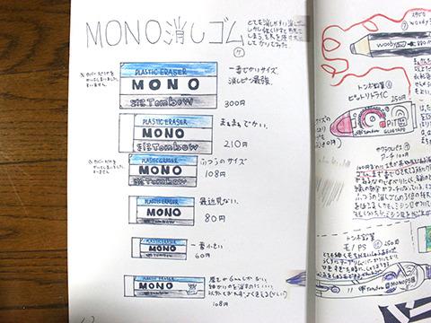 文房具図鑑にもMONO消しゴムのサイズ表ページが。これが文具にハマるきっかけとは。
