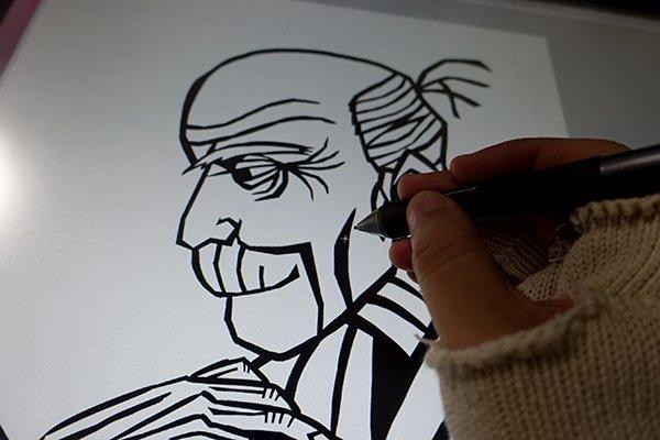 黒い紙を切り抜くイメージで、パキッとカクカクした線で輪郭を描き