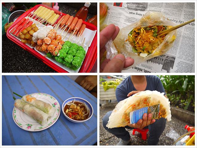 ライスペーパーのピザ、生地と具とタレをビニール袋内で混ぜるやつ、マンゴー、たい焼き、生春巻き。ベトナムの道ばたグルメが熱い。(古賀)