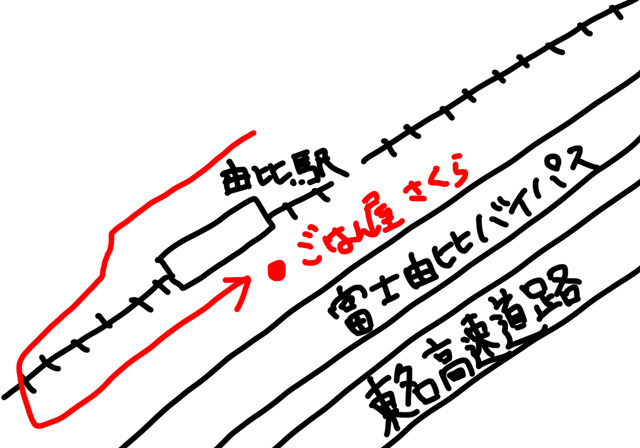 こんな位置関係。赤い矢印を15分ほど歩く。
