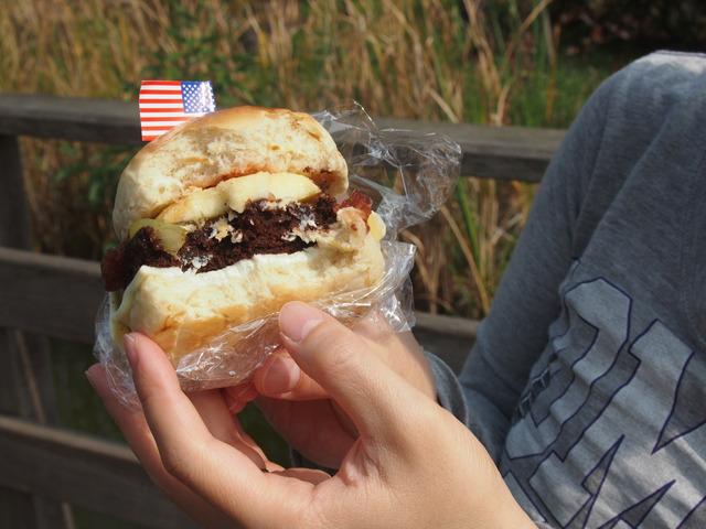 食べかけで恐縮ですが断面。これも普通のハンバーガーに見えると思う。