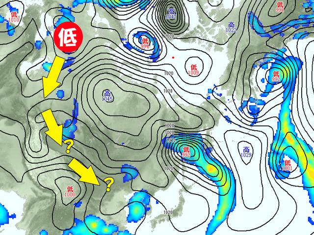 16日(月)の天気図。ヨーロッパにある低気圧が東へ。ごちゃごちゃした図ですみません。