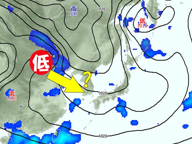 21日(土)の天気図。低気圧がこのまま来てしまうと、3連休はグズグズ天気に。