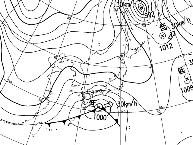 2014年2月8日朝。気象庁天気図