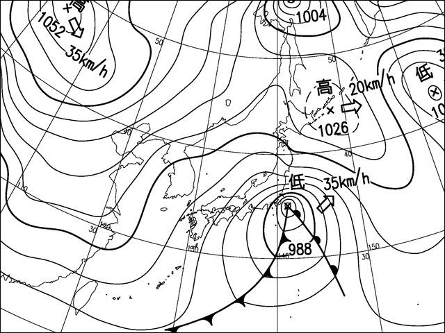 2014年2月8日夜。気象庁天気図