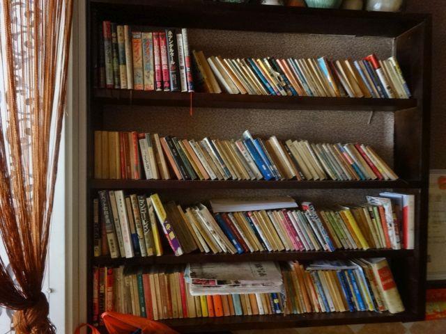 菊屋の1階にある本棚は日本の本がズラリ。 やはり小説・漫画・ガイドブックがメインで、1990年台後半の本も目立つ。