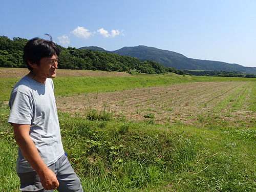 佐渡市石花で小麦を育てている本間信明さん。