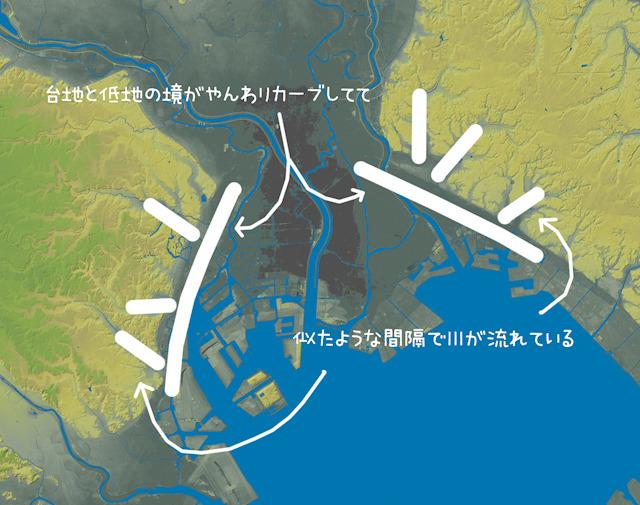 左が武蔵野台地、右が下総台地。(国土地理院「基盤地図情報数値標高モデル」5mメッシュをSimpleDEMViewerで表示したものをキャプチャ・加筆加工。以下同様)