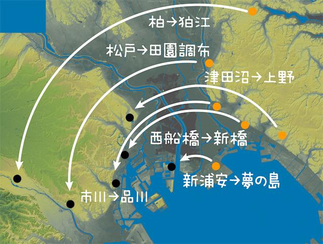 回転したら、千葉と東京の街がこのように重なった!