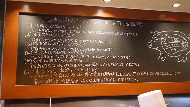 味の秘訣が全部黒板に書いてあるぞ。