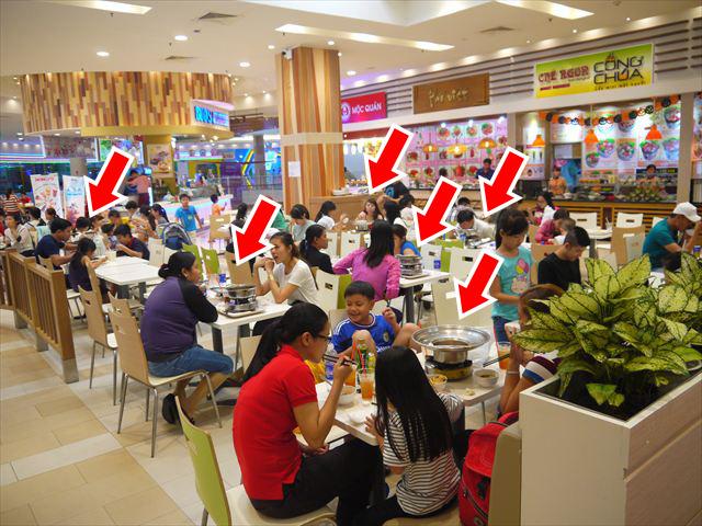 よく見るとあっちこっちで鍋を食べています。タイもそうだけど、みんな鍋が好きなんですよね。回転寿司ならぬ、具材が回転している回転鍋なんてものもあります。