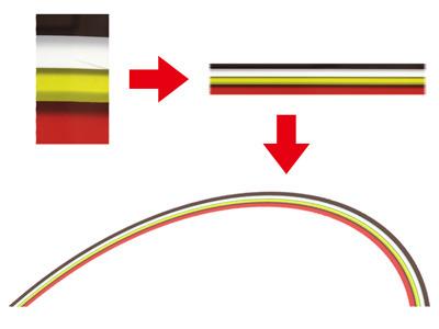 余談だが、上の虹は「チゲ味噌」の色の層を切り抜いて虹の形にしたものなので、ちゃんとした「チゲ味噌レインボー」である。