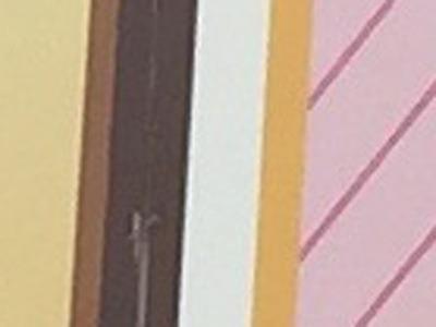 どうかというぐらい拡大。「カフェ」の「カ」の右側です。(上の赤い四角形の部分)