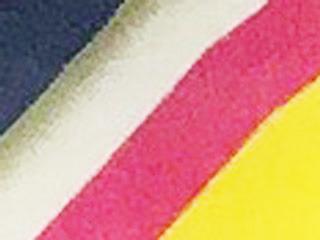 】上の「ャ」の右側を拡大。左から青→灰色→白→ピンク→黄色の5種盛り。