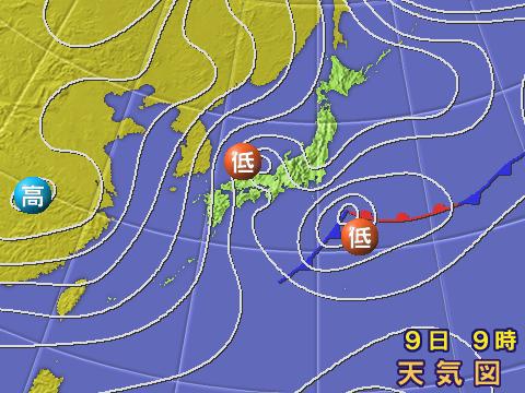 2002年12月9日朝。気象庁天気図