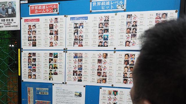 ホームランかヒットを出すと写真が貼られる。日本各地から、老若男女いる!