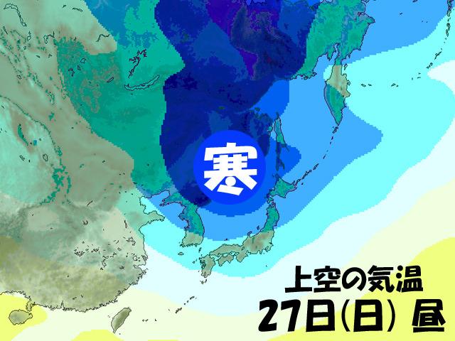 週末には、遅れて来た寒波が日本に。本州の南のほうまで来る勢いを持っているかがポイント。