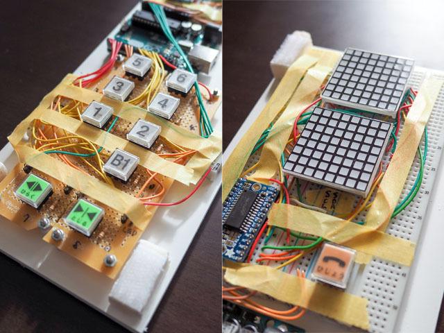 構成は大きく分けて、ボタン部と階数表示部からなる。制御にはAruduino Unoを使用