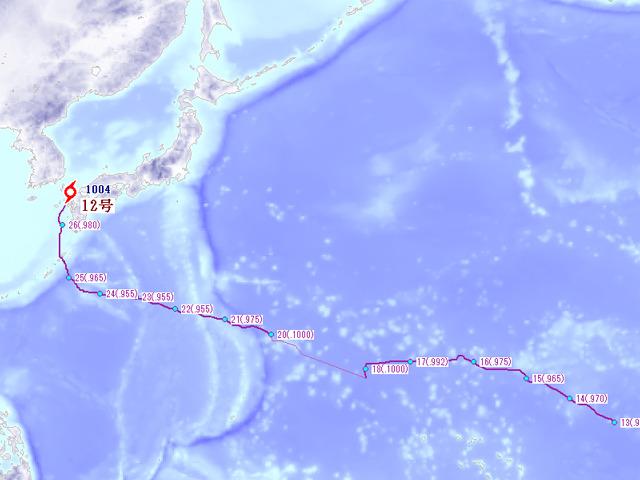 台風12号の通ったルート。そんな遠くまでいかなくても。
