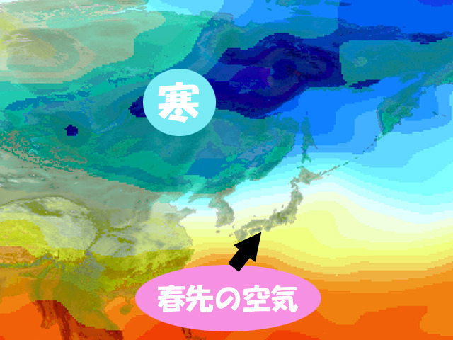 1月2日の上空の気温。寒波はシベリアで正月休み。南から春先の空気が来る。