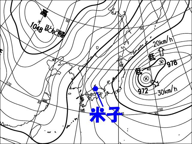 2011年1月1日朝。気象庁天気図
