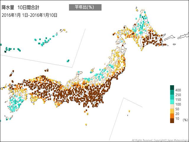 年が明けてからの降水量(気象庁HP)。太平洋側はぜんぜん降ってない所が多く、茶色だらけ。