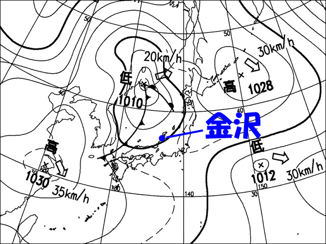 夜。気象庁天気図