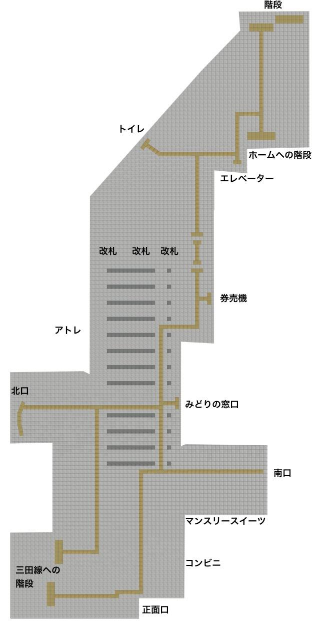 巣鴨駅の「床だけ地図」