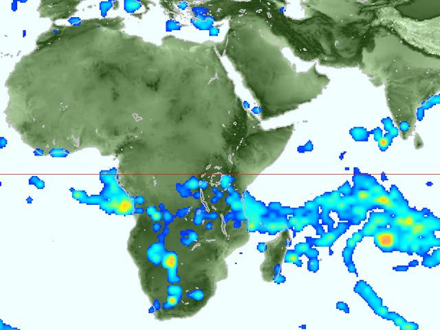アフリカ周辺の雨雲。スパコンが計算してます。