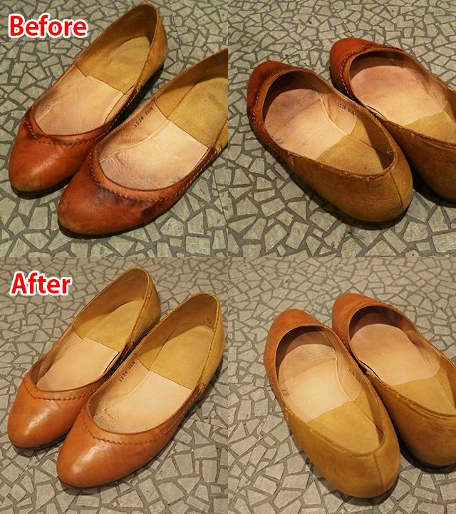 戻ってきた靴と比較。摩擦で擦り切れている所はどうしようもないけど、それ以外はだいぶ綺麗になった。形も整ってるぞ。すごい!
