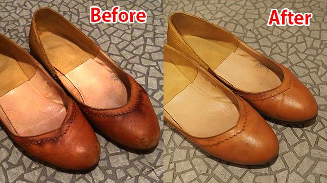 雨染みがひどかった靴が、ご覧のとおり。しかもたったの1,020円(税込)で!