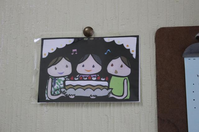 入口に作品が飾ってありました。かわいらしい