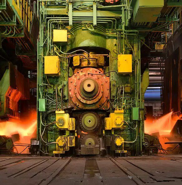 熱延工程の圧延機 (マツダのオート三輪)