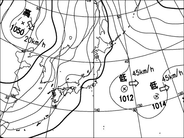 夕方。気象庁天気図