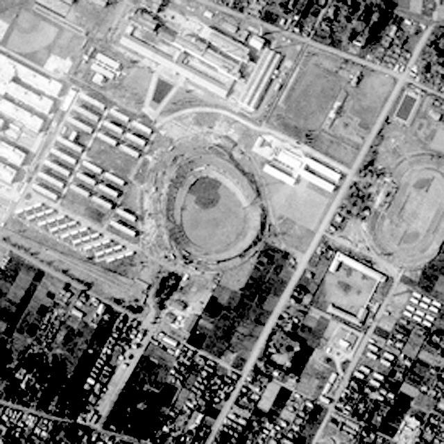 なんと球場! (国土地理院「地図・空中写真閲覧サービス」整理番号・USA/コース番号・M578-2/写真番号・175/撮影年月日・1956/04/13(昭31)より)