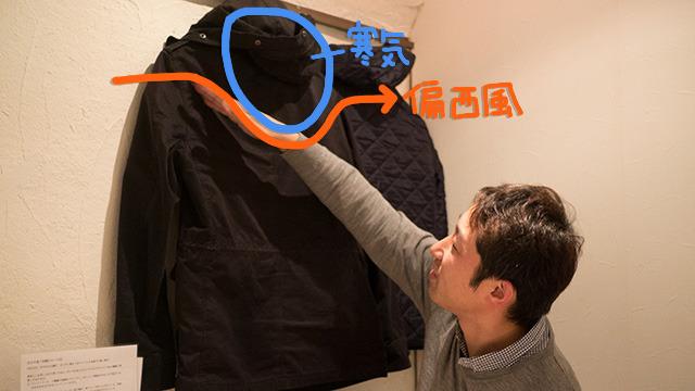 自分のジャケットを地球、腕を偏西風として説明する増田さん。居酒屋が急にお天気コーナーに!