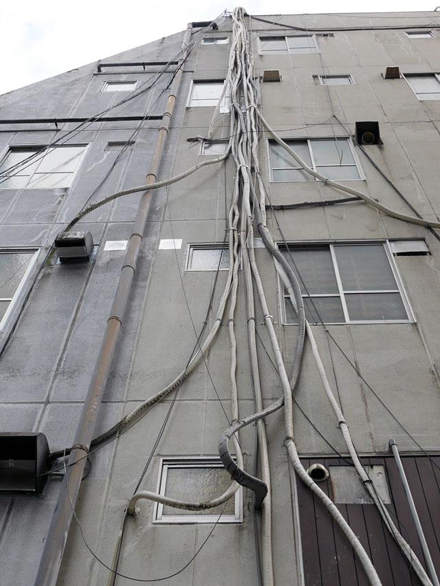 幾重にも折り重なり、生命力すら感じる謎の束……これ、紛れもなくエアコン配管である。「ラピュタは本当にあったんだ!」って叫びたくなる