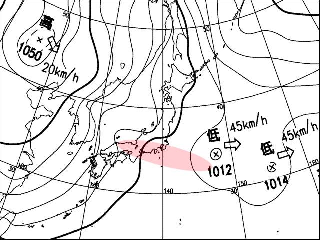 2008年1月16日夕。気象庁天気図