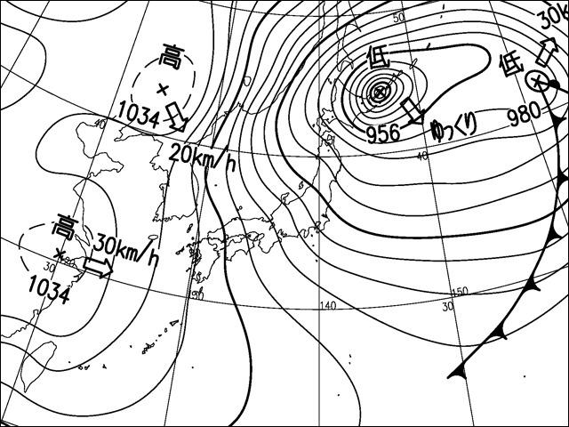 早朝。気象庁天気図