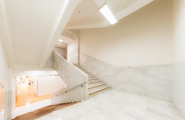 豪華な石貼りの空間。まるで石をくりぬいて階段室にしたのかと見紛う空間に、黄金の滑り止めが映える。