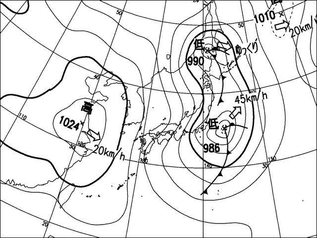 昼。気象庁天気図