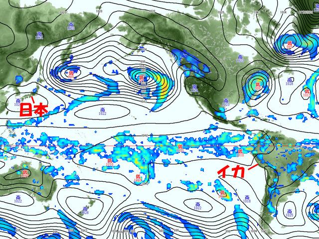 2日(水)の雨雲と気圧の予測。イカの東側の山地には雨雲が並ぶ。これが来るか?