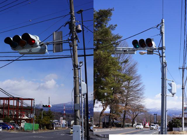 こうやって並べる。左、明らかに大きいよね(歩行者用の信号機の高さを揃えてみた)。