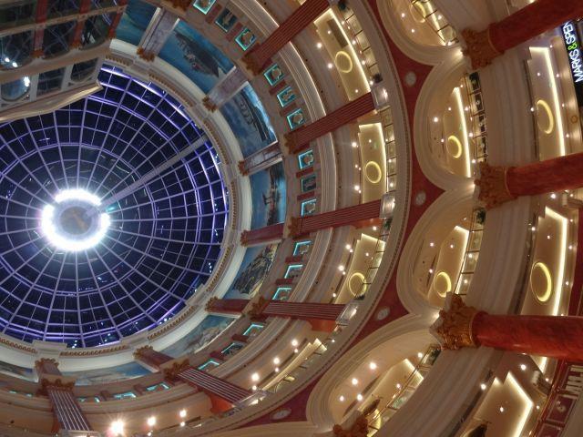ショッピングセンターで天を仰ぐ。 吹き抜けがあるものが多いのだ。