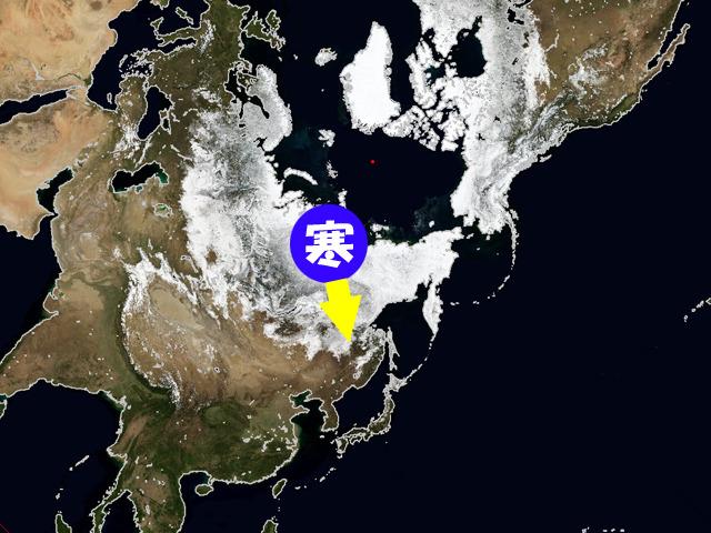 白いエリアが雪の積もっているところ。まだ北に残っている冬の空気が、今週、日本をねらう。