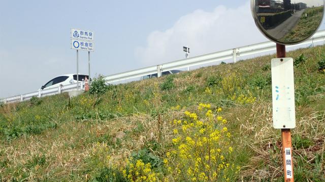 手前のカーブミラーは栃木県藤岡町。後ろのカントリーサインは群馬県板倉町、間に県境がある