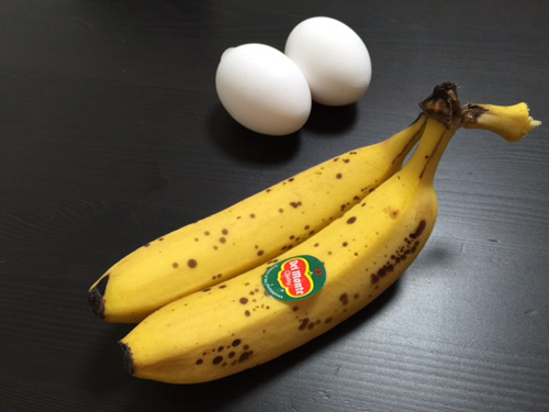 ケーキにするのに適した完熟バナナ。