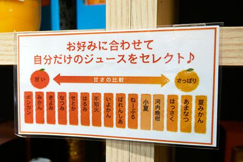 ここに提示されてる以上に種類はある。みかんのジュースだけでこんなに選択肢があるなんてはじめて!