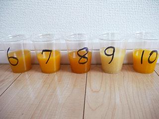 濃いほうが苦味ありそうな印象なのはブラッドオレンジジュース寄りの色だからか